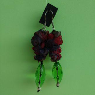 Orecchini Pendenti in Organza Bordeaux e Grigia con Perle, Bigiotteria Artigianale