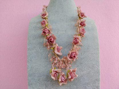 Collana con Fiori in Carta Vellutata Rosa e Perle, Bigiotteria Artigianale