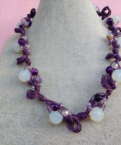 Collana di Perle Bianche e Viola, Bigiotteria Artigianale