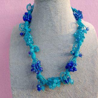 Collana di Perle Blu e Azzurre, Bigiotteria Artigianale