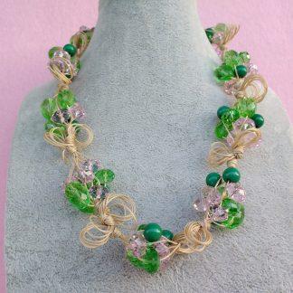 Collana di Perle Verdi e Rosa, Bigiotteria Artigianale