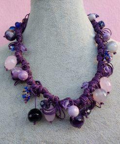 Collana di Perle Viola, Rosa e Blu, Bigiotteria Artigianale