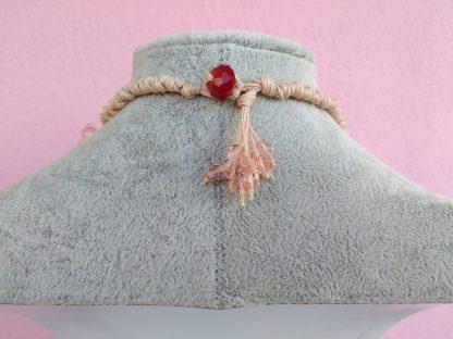 Dietro Collana con Fiori in Carta Vellutata Rosa e Perle, Bigiotteria Artigianale