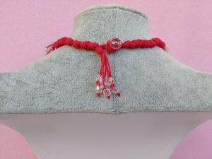 Dietro Collana con Fiori in Carta Vellutata Rossa e Perle, Bigiotteria Artigianale
