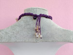 Dietro Collana con Fiori Girasole in Carta e Perle, Bigiotteria Artigianale