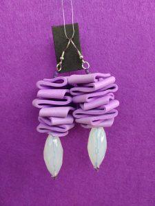 Orecchini Pendenti in Gomma Crepla Ametista con Perle, Bigiotteria Artigianale