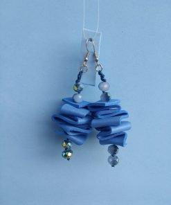 Orecchini Pendenti in Gomma Crepla Blu con Perle, Bigiotteria Artigianale