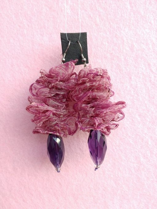Orecchini Pendenti in Organza Ciliegia con Perle, Bigiotteria Artigianale