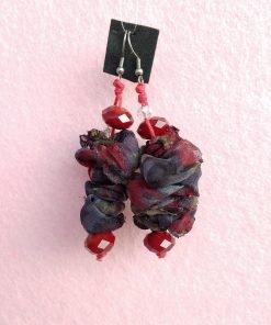 Orecchini Pendenti in Organza Grigia e Bordeaux con Perle, Bigiotteria Artigianale