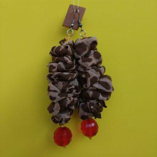 Orecchini Pendenti in Organza Marrone con Perle, Bigiotteria Artigianale