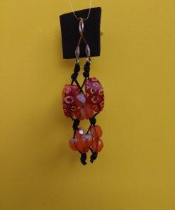Orecchini Pendenti di Perle Arancio, Bigiotteria Artigianale