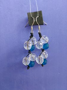 Orecchini Pendenti di Perle Blu e Vetro Trasparente, Bigiotteria Artigianale