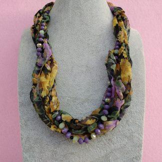 Collana in Organza Gialla, Verde e Viola con Perle, Bigiotteria Artigianale