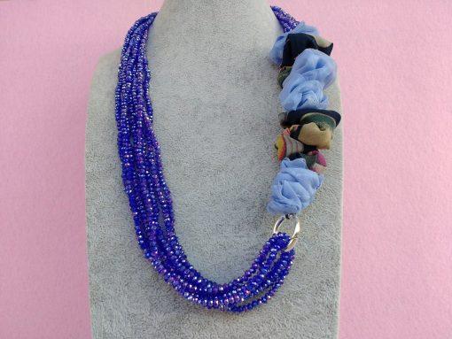 Collana di Cristalli Blu con Organza, Bigiotteria Artigianale