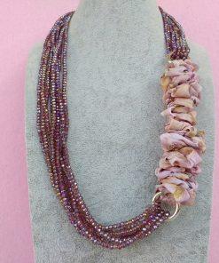 Collana di Cristalli Rosa con Organza, Bigiotteria Artigianale