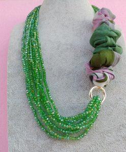 Collana di Cristalli Verdi con Organza, Bigiotteria Artigianale