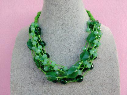 Collana di Perle in Vetro e Cristalli Verdi, Bigiotteria Artigianale