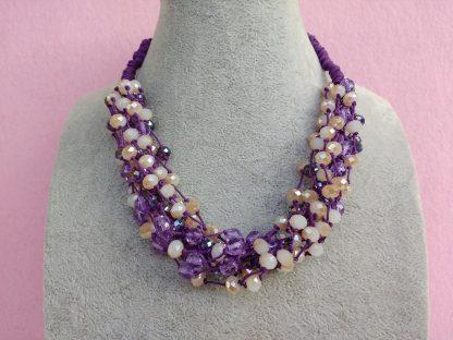 Collana di Perle in Vetro e Cristalli Viola e Beige, Bigiotteria Artigianale