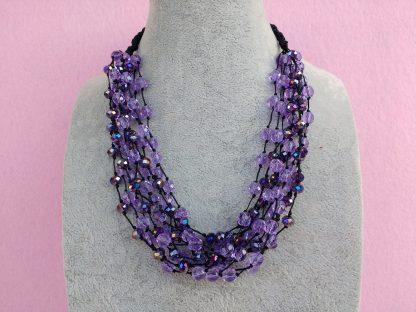 Collana di Perle in Vetro e Cristalli Viola, Bigiotteria Artigianale