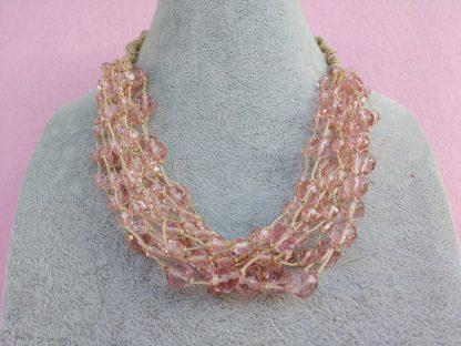 Collana di Perle in Vetro Rosa, Bigiotteria Artigianale