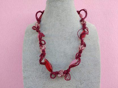 Collana di Perle in Vetro Rosse e Rosa, Bigiotteria Artigianale