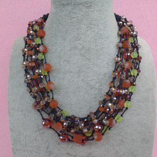 Collana Multifilo di Perle Arancioni e Gialle, Bigiotteria Artigianale