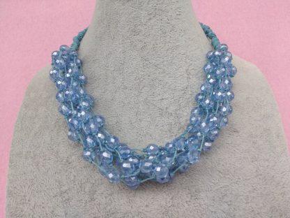 Collana Multifilo di Perle Azzurre in Vetro, Bigiotteria Artigianale