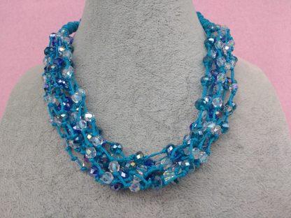 Collana Multifilo di Perle Blu in Vetro e Mezzo Cristallo, Bigiotteria Artigianale