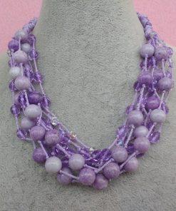 Collana Multifilo di Perle Lilla, Bigiotteria Artigianale