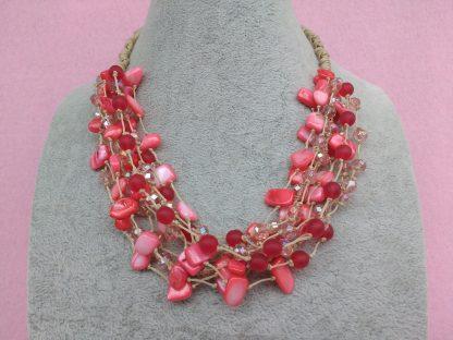 Collana Multifilo di Perle Rosse, Bigiotteria Artigianale