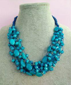 Collana Multifilo di Perle in Vetro e Mezzo Cristallo Turchese, Bigiotteria Artigianale