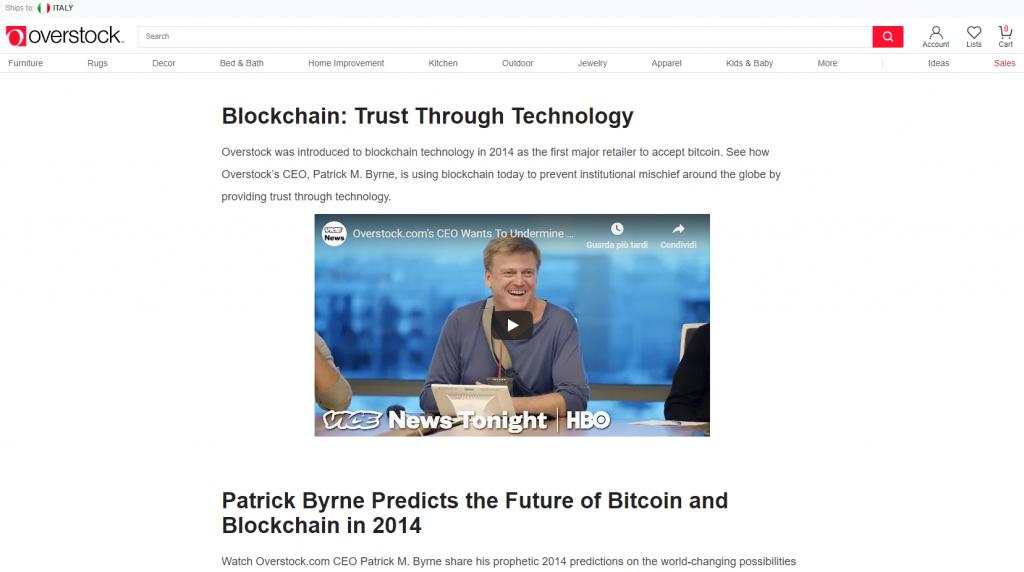 Overstock fa parte dei Negozi Online che Accettano Bitcoin