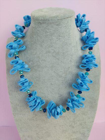Collana in Gomma Crepla Azzurra con Perle, Bigiotteria Artigianale