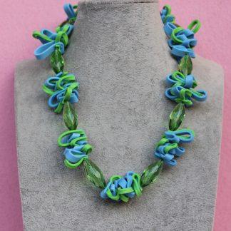 Collana in Gomma Crepla Verde e Azzurra, Creazioni in Fommy