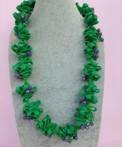 Collana in Gomma Crepla Verde con Perle, Bigiotteria Artigianale