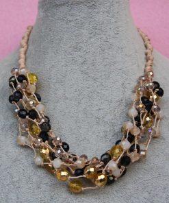 Collana Multifilo di Perle Nere, Beige e Gialle