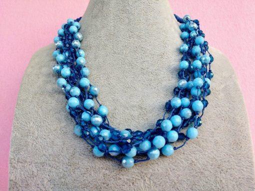 Collana Multifilo di Perle in Vetro Azzurre e Blu
