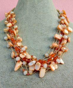 Collana Multifilo di Perle in Vetro e Mezzo Cristallo Arancione e Beige