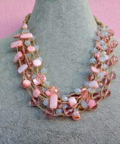 Collana Multifilo di Perle in Vetro e Mezzo Cristallo Bianco e Rosa