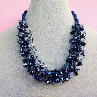 Collana Multifilo di Perle in Vetro Trasparente e Mezzo Cristallo Blu