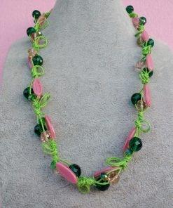 Collana di Perle in Vetro e Mezzo Cristallo Rosa e Verde