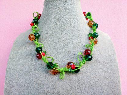 Collana di Perle in Vetro e Mezzo Cristallo Rosso, Verde e Arancione