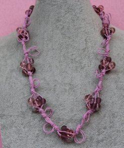 Collana di Perle Rosa in Vetro