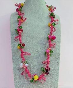Collana con Agata Fucsia Striata, Cristalli e Perle in Mezzo Cristallo