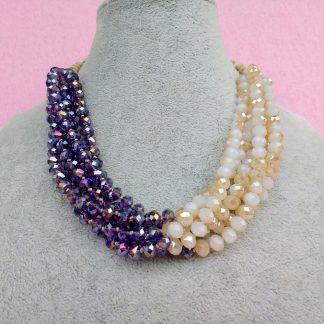 Collana Multifilo di Perle in Mezzo Cristallo Beige e Viola