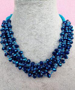 Collana Multifilo di Perle in Mezzo Cristallo Blu e Azzurre