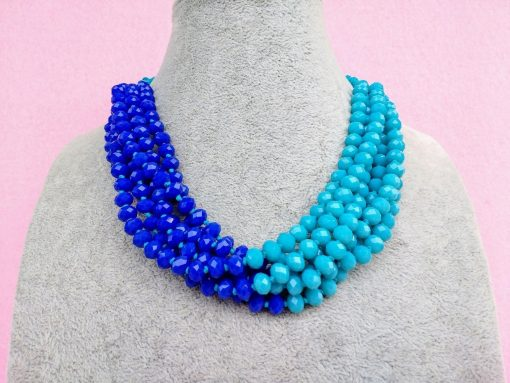 Collana Multifilo di Perle in Mezzo Cristallo Turchese e Blu