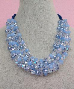 Collana Multifilo di Perle in Vetro e Mezzo Cristallo Azzurre e Trasparenti