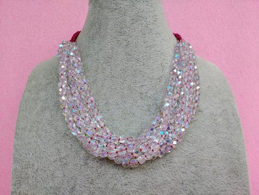 Collana Multifilo di Perle in Vetro Trasparenti