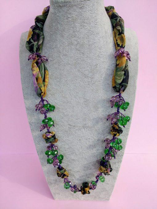 Collana in Organza Gialla, Viola, Verde con Cristalli e Perle in Vetro e Mezzo Cristallo